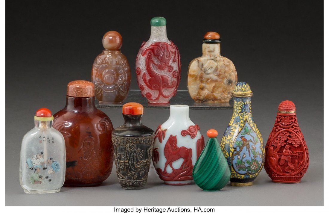 21279: Ten Chinese Snuff Bottles 3-3/8 inches (8.6 cm)