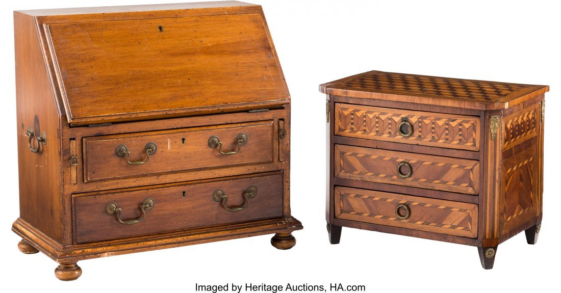 21177: A Miniature George III-Style Fruitwood Secretary