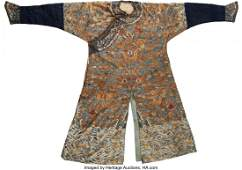 78270: A Chinese Embroidered Silk Nine-Dragon Court Rob