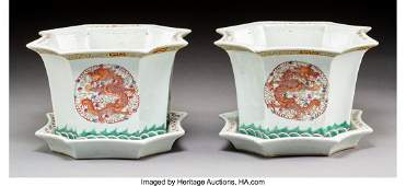 78200: A Pair of Chinese Enameled Porcelain Phoenix and