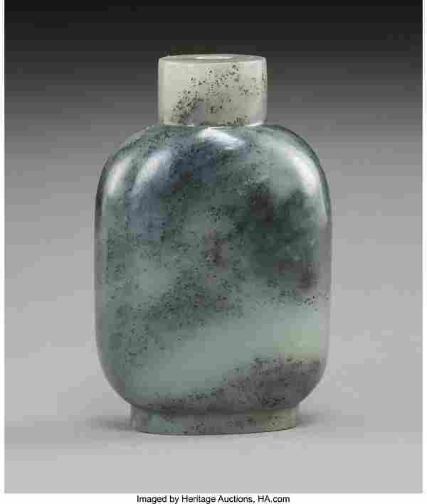 78055: A Chinese Carved Grey Jade Snuff Bottle, Qing Dy
