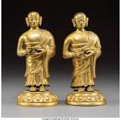 78310: A Rare Pair of Sino-Tibetan Gilt Bronze Luohan,