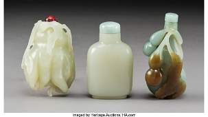 78062: Three Chinese Carved Jade Snuff Bottles, Qing Dy