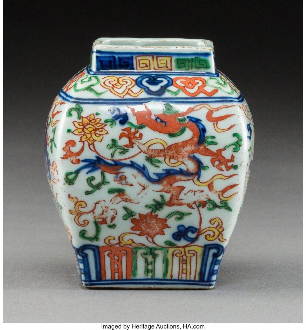 78157: A Chinese Wucai Porcelain Square-Form Jar, Trans