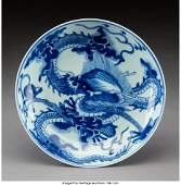 78168: A Chinese Blue and White Porcelain Dish, Qing Dy