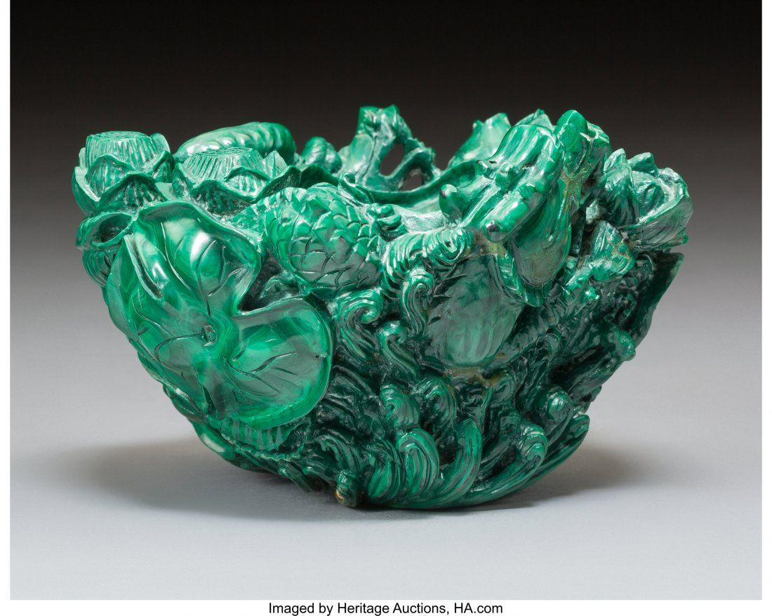 78368: A Chinese Carved Malachite Sea Dragon Brush Wash