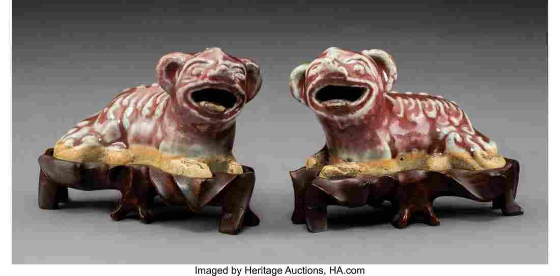 78373: A Pair of Glazed Chinese Stoneware Buddhistic Li