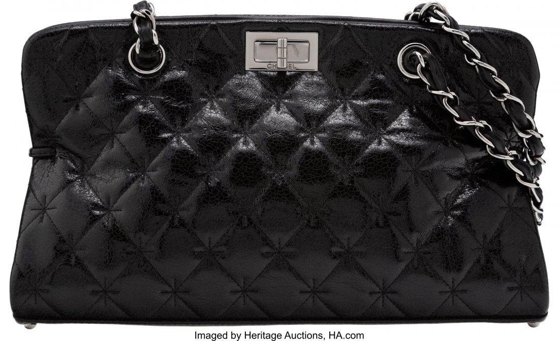 58275: Chanel Black Quilted Patent Leather Shoulder Bag