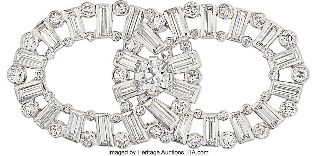 55218: Art Deco Diamond, Platinum Brooch, Cartier  The