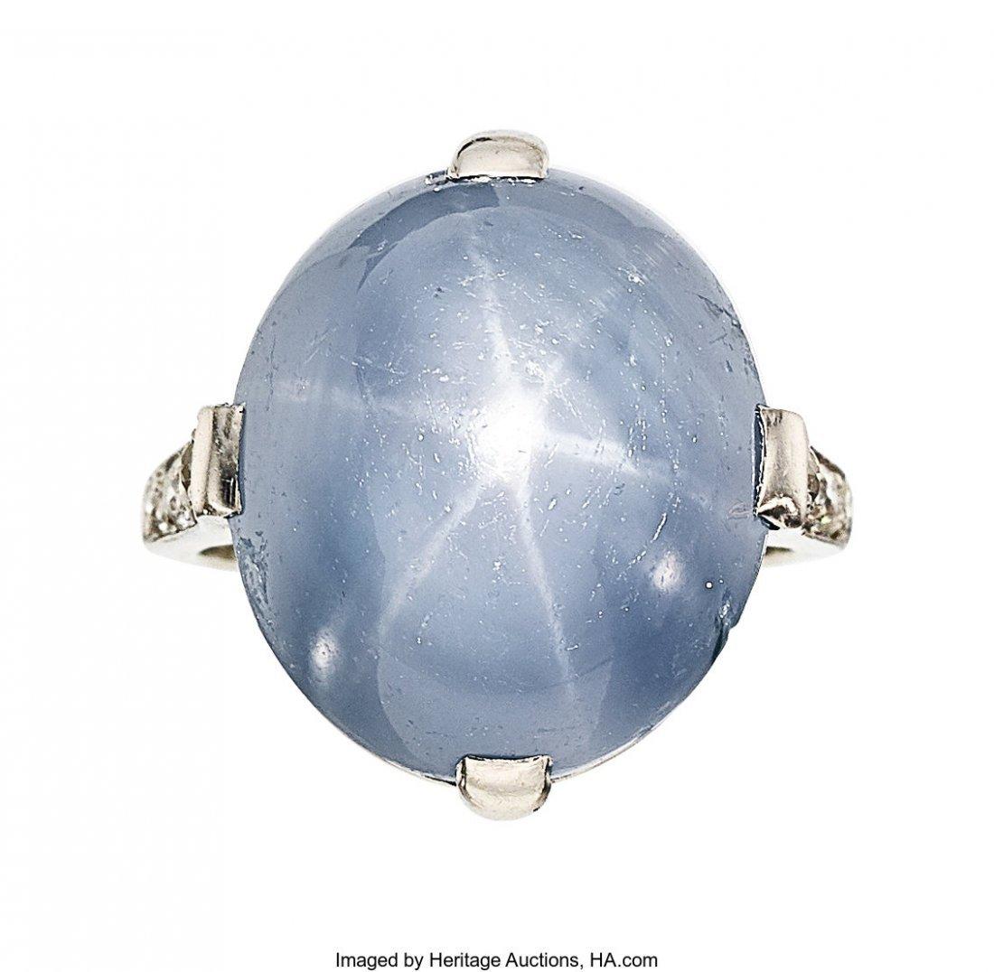 55220: Art Deco Star Sapphire, Diamond, Platinum Ring,