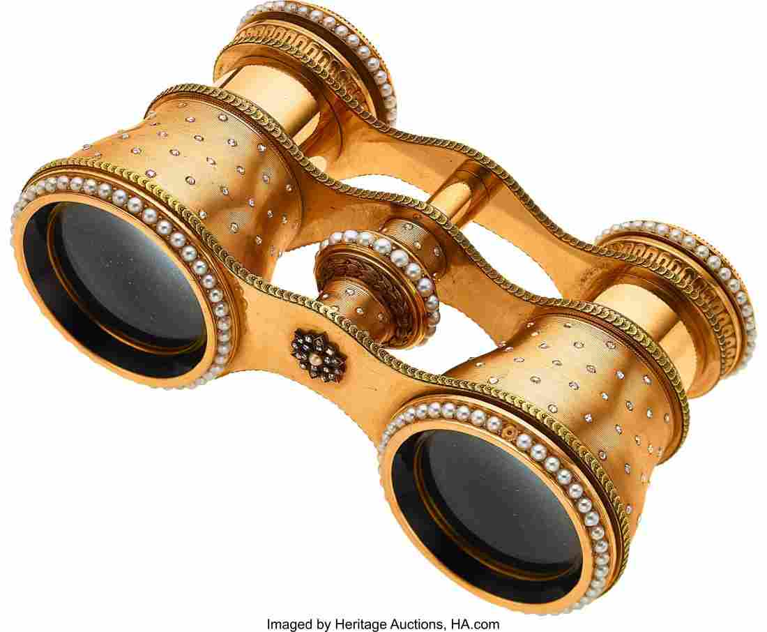 55158: Antique Diamond, Half-Pearl, Gold Binoculars, Ca