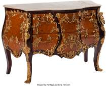 74159: A Louis XV-Style Gilt Bronze Mounted Marquetry C