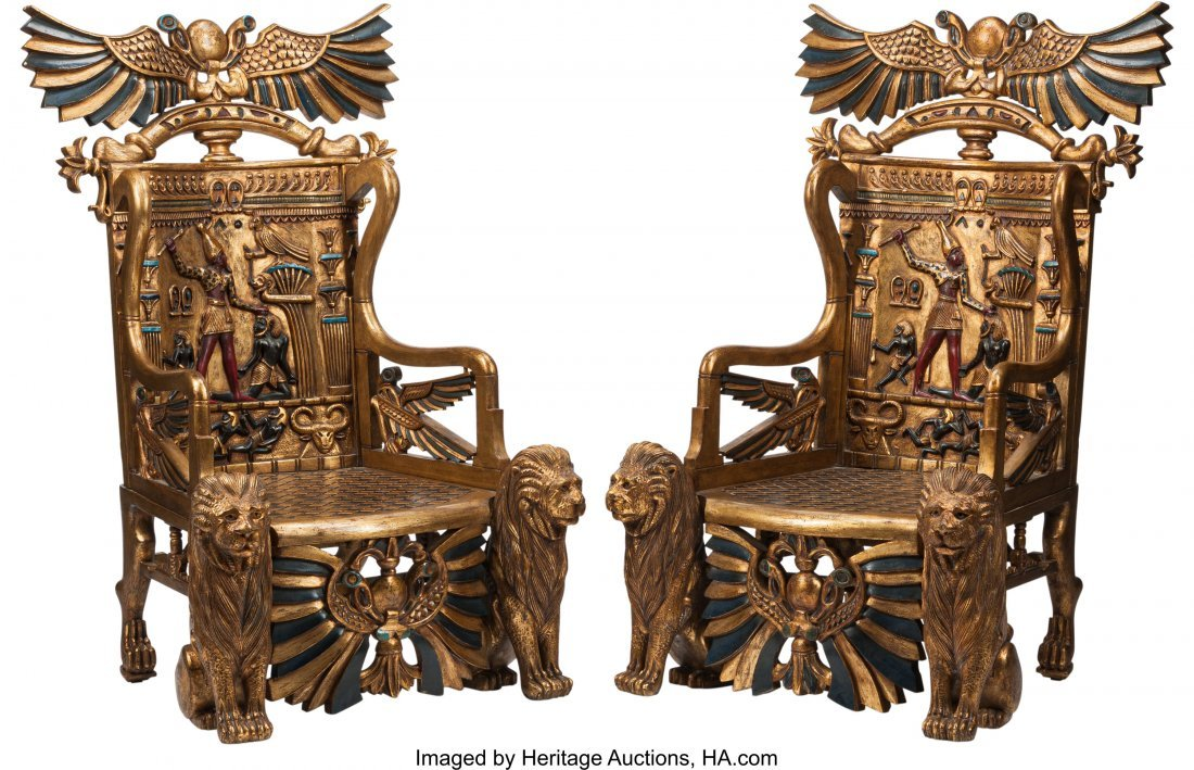 74366: A Pair of Egyptian Revival Carved and Painted Wo