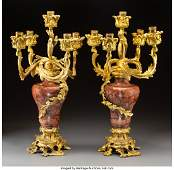 A Pair of French Baroque Style Gilt Bronze-Mount