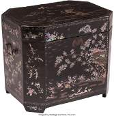 74390: A Chinese Mother-of-Pearl Inlaid Black Lacquer B