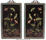 A Pair of Chinese Cloisonné, Semi-Preciou