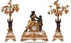 74206: A Three-Piece Napoleon III White Marble and Gilt
