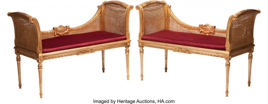 74229: A Pair of Louis XVI-Style Caned Giltwood Settees