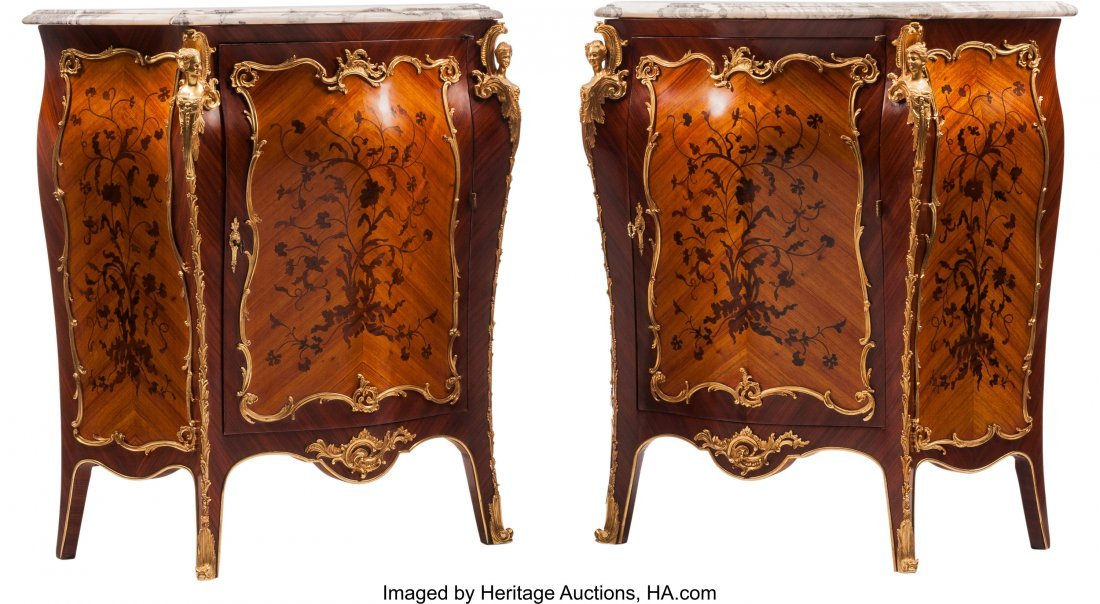 74305: A Pair of Louis XV-Style Gilt Bronze Mounted Mar