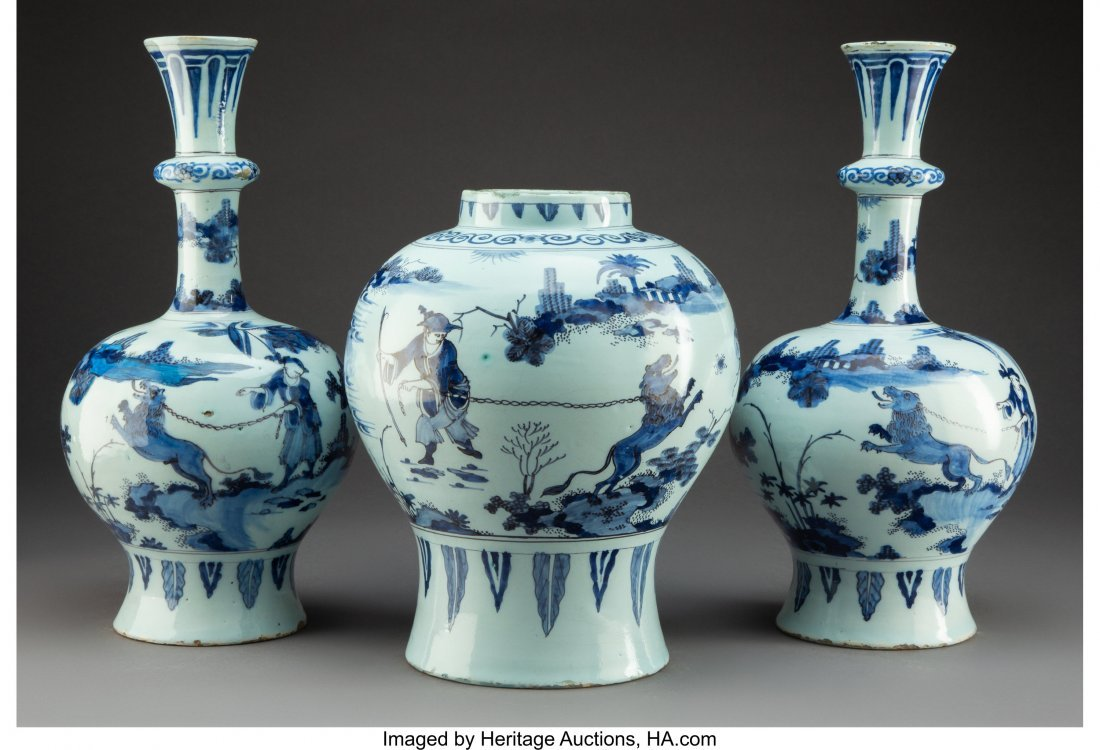 74323: A Three-Piece Dutch Delft Blue and White Garnitu