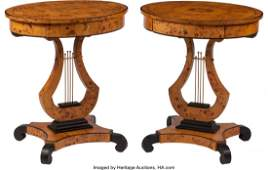 74336: A Pair of Charles X-Style Curly Maple Side Table