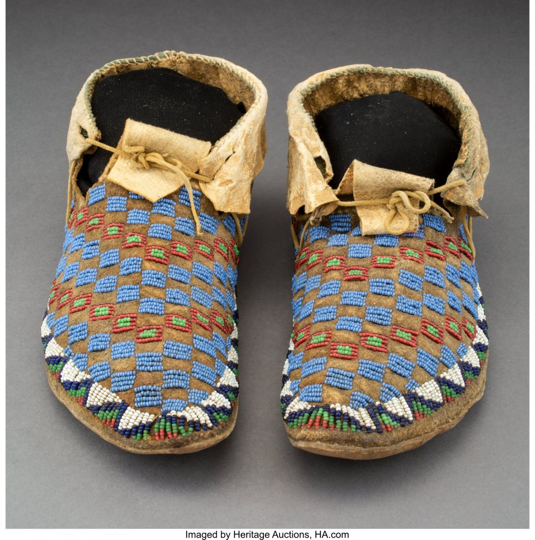 70113: A Pair of Sioux Beaded Hide Moccasins  c. 1900