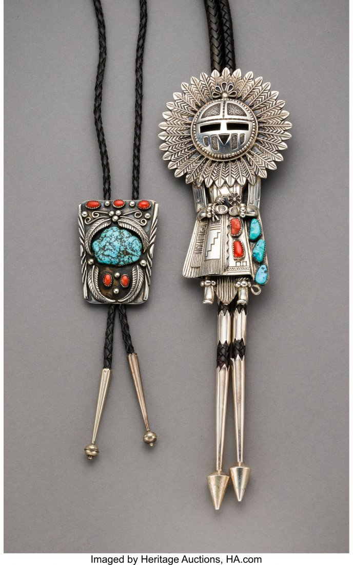 70056: Two Navajo Bolo Ties  c. 1975 and 1990  silver,