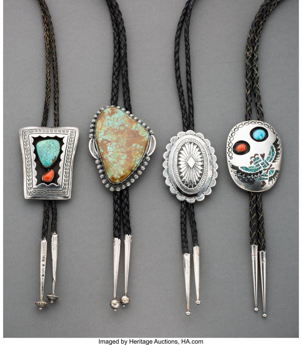70058: Four Navajo Bolo Ties  c. 1975  silver, turquois
