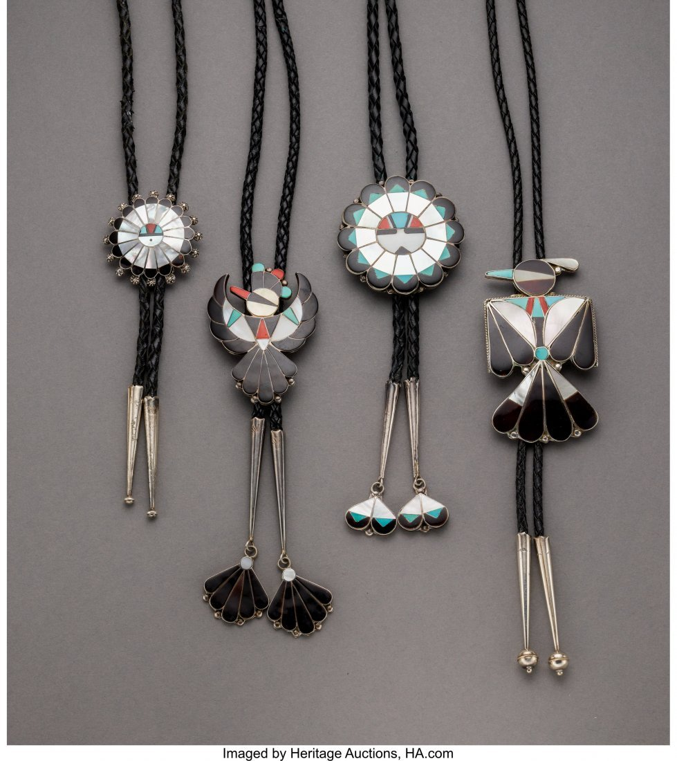 70062: Four Zuni Bolo Ties  c. 1980  silver, turquoise,