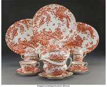 21131: A Fifty-Nine-Piece Royal Crown Derby Red Aves Pa