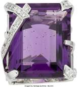 58154 Chanel Diamond Amethyst amp 18k White Gold Ring C