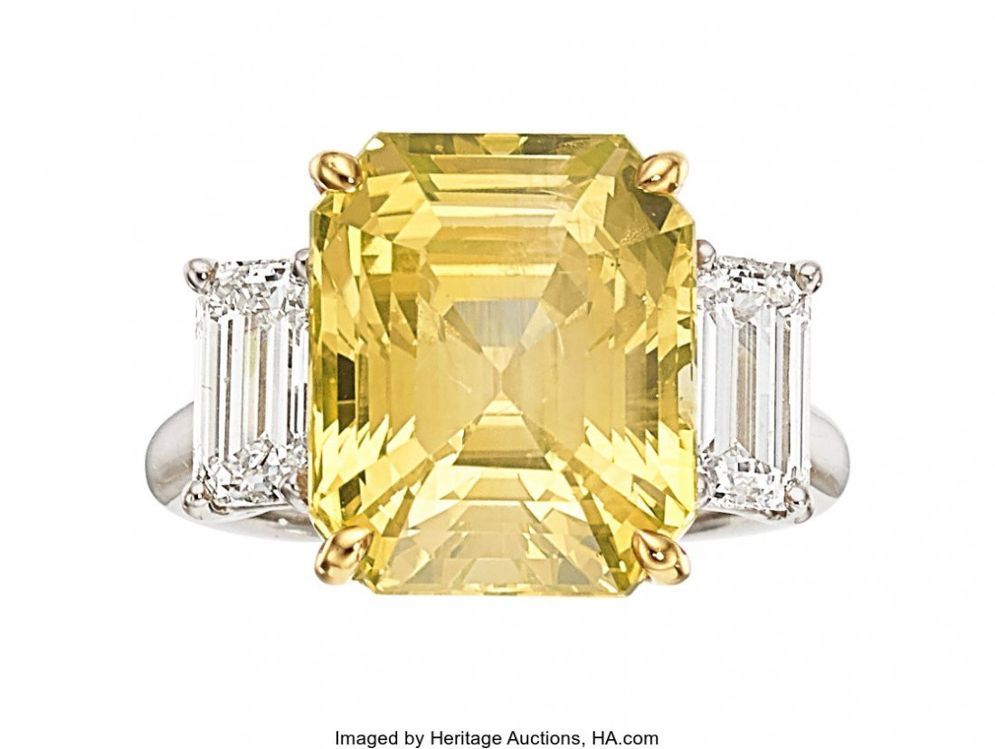 55100: Ceylon Yellow Sapphire, Diamond, Platinum Ring