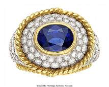 Sapphire, Diamond, Platinum, Gold Ring, Tiffany