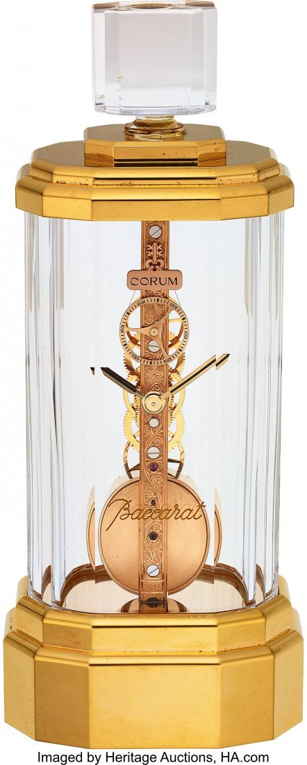 "54057: Corum, Baccarat Crystal ""Golden Bridge"" Clock, C"