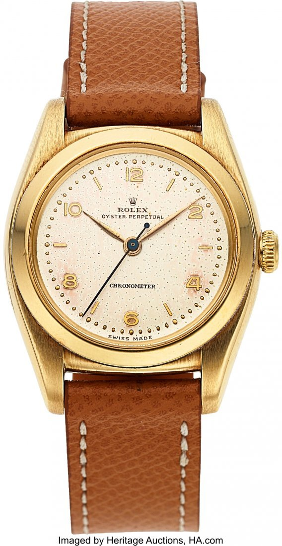 54174: Rolex, Ref. 3131 Bubble Back, 14k Yellow Gold, C