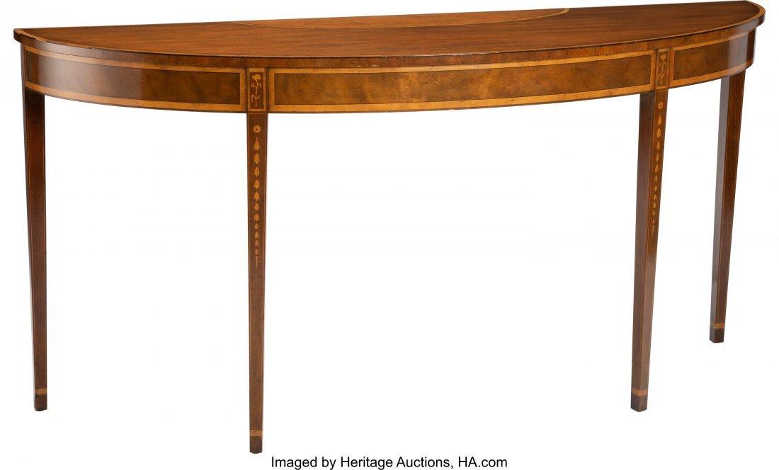 27080: A George III-Style Inlaid Mahogany and Satinwood