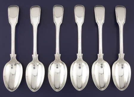 92533: 6 Victorian Exeter Silver Table Spoons