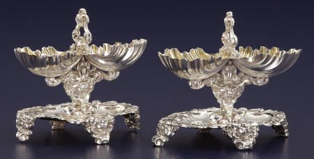 92543: A Pair of French Silver Double Salts
