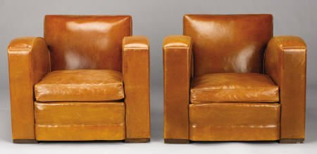 94010: A Pair of French Leather Upholstered Club Chairs