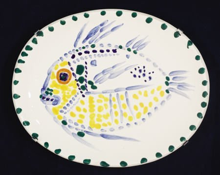 94012: Pablo Picasso, White Ground Fish, ceramic