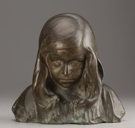 94024: Alimondo Ciampi, Bust of a Young Girl, bronze