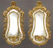 94269 A Pair of Italian Baroque Gilt Wood Wall Mirrors