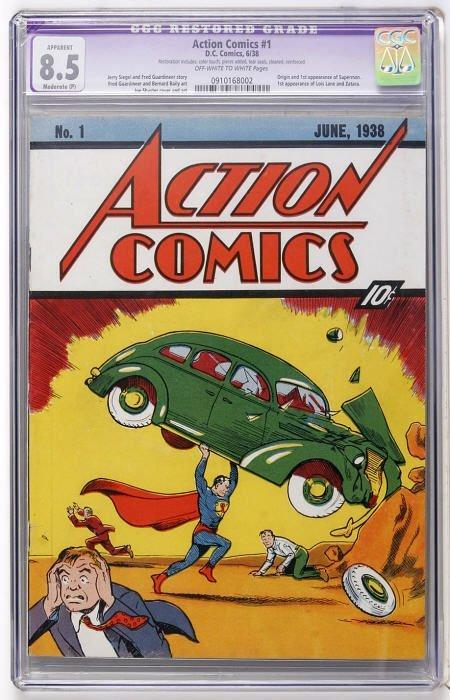 41001: Action Comics #1 (DC, 1938) CGC Apparent VF+ 8.5