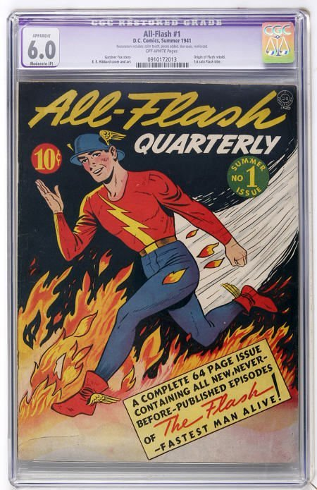 41005: All-Flash #1 (DC, 1941) CGC FN 6.0 Off-white