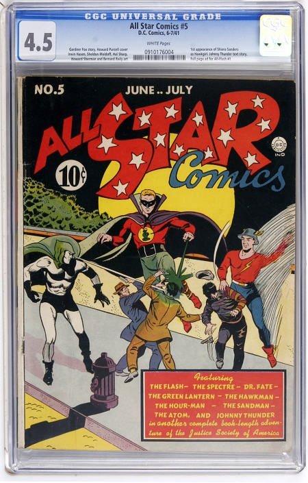 41008: All Star Comics #5 (DC, 1941) CGC VG+ 4.5 White