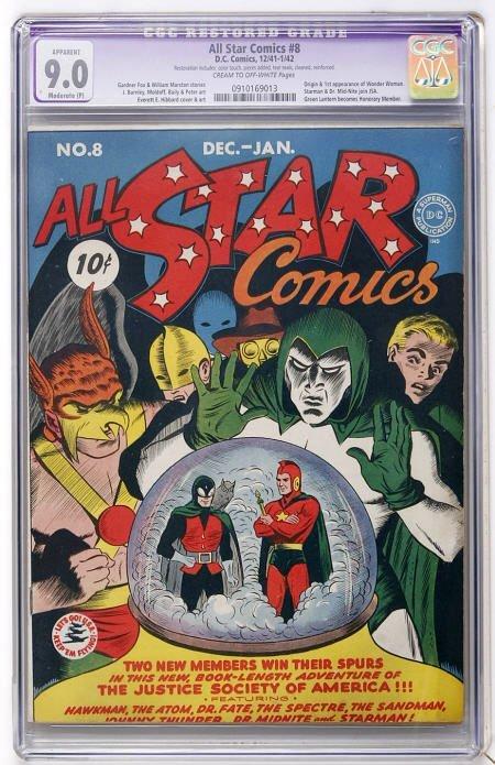 41009: All Star Comics #8 (DC, 1942) CGC Apparent 9.0