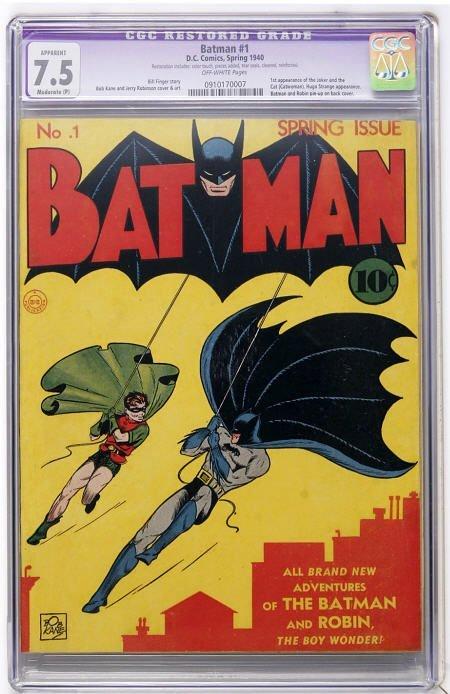 41016: Batman #1 (DC, 1940) CGC Apparent VF- 7.5