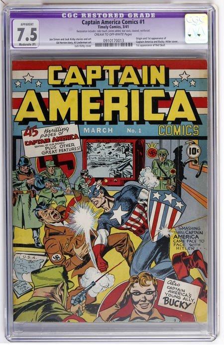 41018: Captain America Comics #1 (1941) CGC App 7.5