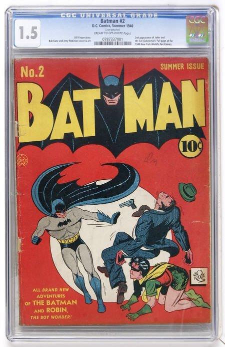 43011: Batman #2 (DC, 1940) CGC FR/GD 1.5 Cream to