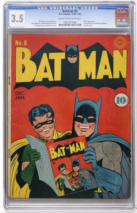 43013: Batman #8 (DC, 1942) CGC VG- 3.5 Cream to